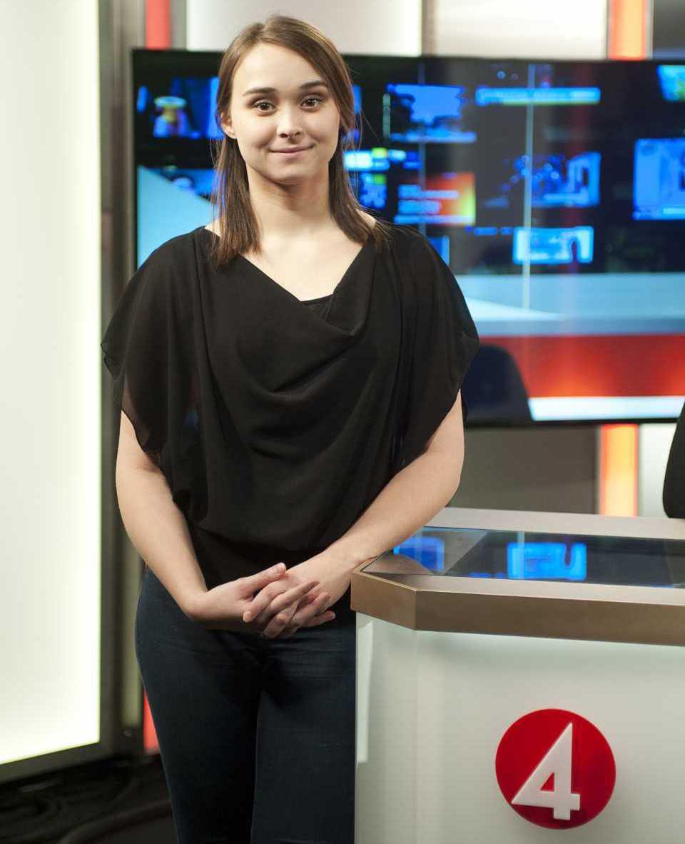 Tidigare studerande Sofia Muhonen Liedholm på TV4. Foto: Lars Heydecke